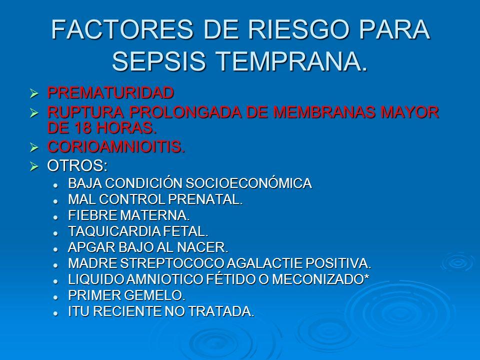 FACTORES DE RIESGO PARA SEPSIS TEMPRANA. PREMATURIDAD PREMATURIDAD RUPTURA PROLONGADA DE MEMBRANAS MAYOR DE 18 HORAS. RUPTURA PROLONGADA DE MEMBRANAS