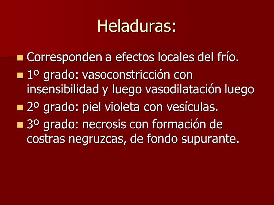 Heladuras: Corresponden a efectos locales del frío. Corresponden a efectos locales del frío. 1º grado: vasoconstricción con insensibilidad y luego vas
