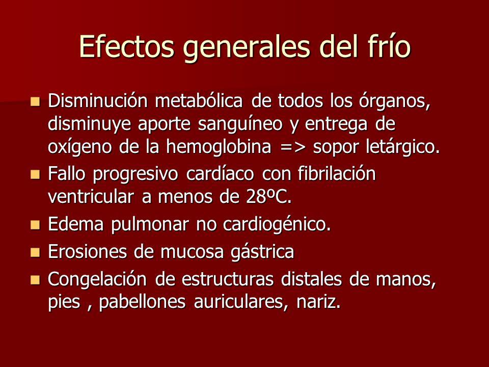 Efectos generales del frío Disminución metabólica de todos los órganos, disminuye aporte sanguíneo y entrega de oxígeno de la hemoglobina => sopor let