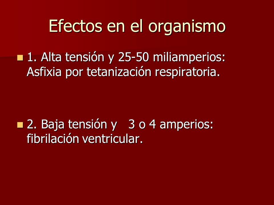 Efectos en el organismo 1. Alta tensión y 25-50 miliamperios: Asfixia por tetanización respiratoria. 1. Alta tensión y 25-50 miliamperios: Asfixia por