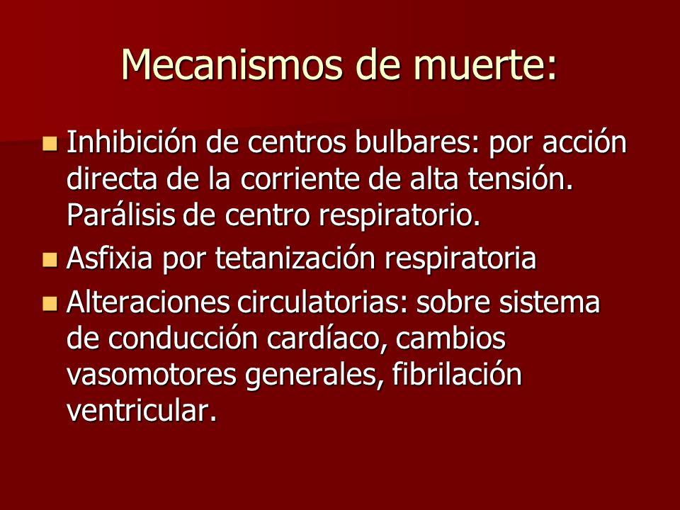 Mecanismos de muerte: Inhibición de centros bulbares: por acción directa de la corriente de alta tensión. Parálisis de centro respiratorio. Inhibición