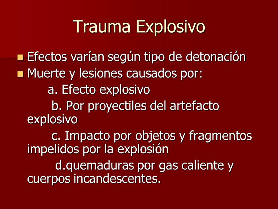Trauma Explosivo Efectos varían según tipo de detonación Efectos varían según tipo de detonación Muerte y lesiones causados por: Muerte y lesiones cau