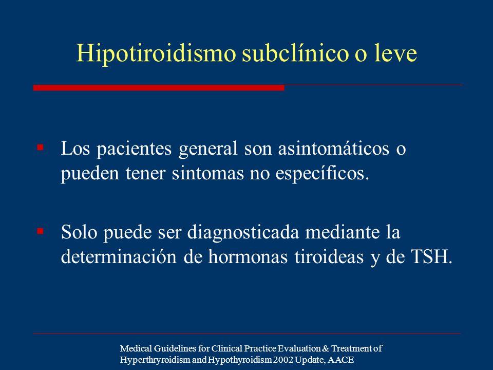Hipotiroidismo subclínico o leve Los pacientes general son asintomáticos o pueden tener sintomas no específicos. Solo puede ser diagnosticada mediante