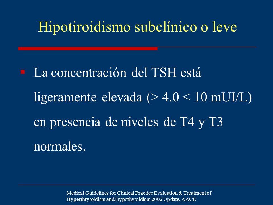 Hipotiroidismo subclínico o leve La concentración del TSH está ligeramente elevada (> 4.0 < 10 mUI/L) en presencia de niveles de T4 y T3 normales. Med