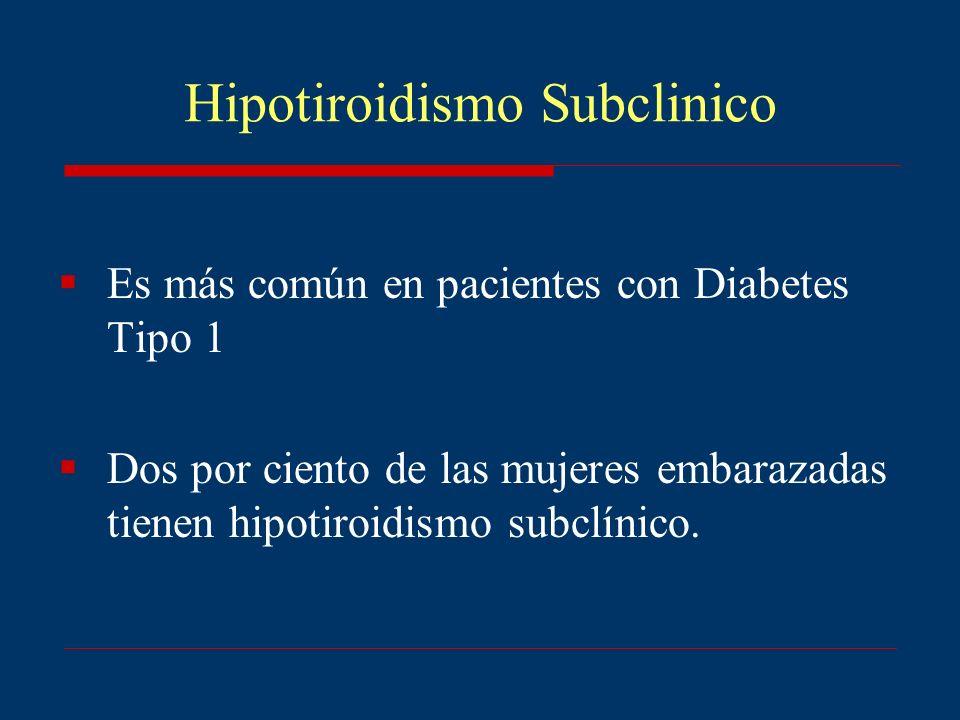 Hipotiroidismo Subclinico Es más común en pacientes con Diabetes Tipo 1 Dos por ciento de las mujeres embarazadas tienen hipotiroidismo subclínico.