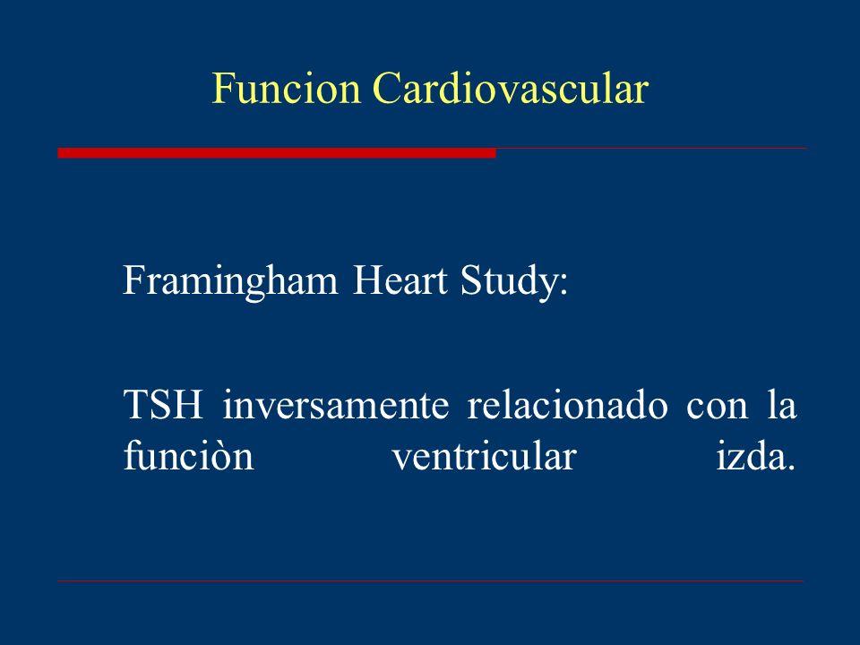 Funcion Cardiovascular Framingham Heart Study: TSH inversamente relacionado con la funciòn ventricular izda.