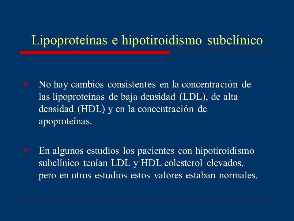 No hay cambios consistentes en la concentración de las lipoproteínas de baja densidad (LDL), de alta densidad (HDL) y en la concentración de apoproteí