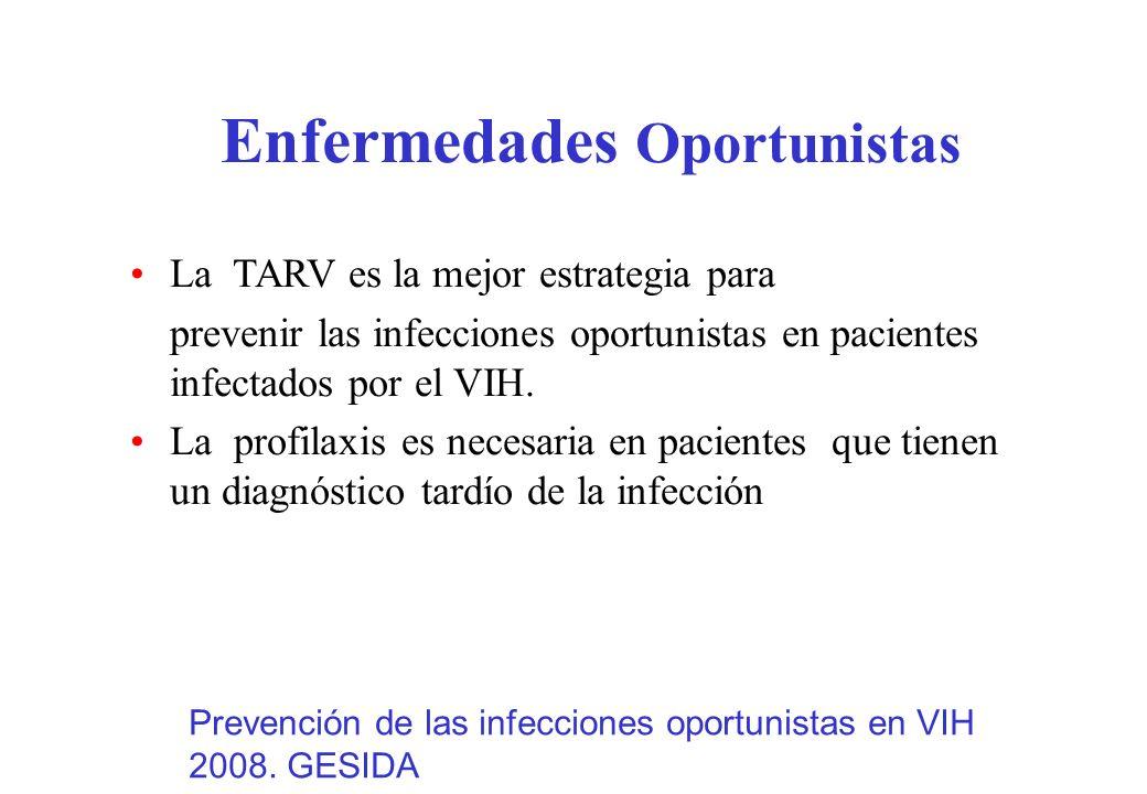 Enfermedades Oportunistas La TARV es la mejor estrategia para prevenir las infecciones oportunistas en pacientes infectados por el VIH. La profilaxis