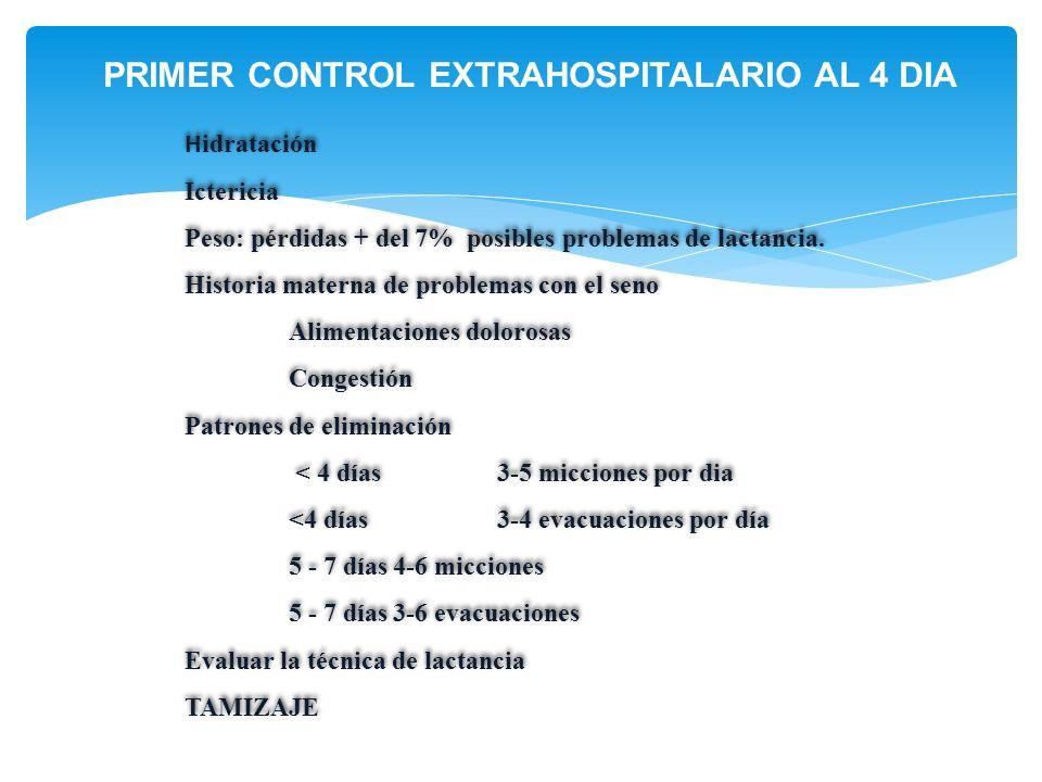 PRIMER CONTROL EXTRAHOSPITALARIO AL 4 DIA H idratación Ictericia Peso: pérdidas + del 7% posibles problemas de lactancia. Historia materna de problema