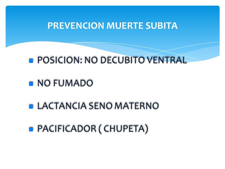 PREVENCION MUERTE SUBITA POSICION: NO DECUBITO VENTRAL NO FUMADO LACTANCIA SENO MATERNO PACIFICADOR ( CHUPETA) POSICION: NO DECUBITO VENTRAL NO FUMADO