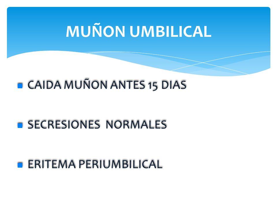MUÑON UMBILICAL CAIDA MUÑON ANTES 15 DIAS SECRESIONES NORMALES ERITEMA PERIUMBILICAL CAIDA MUÑON ANTES 15 DIAS SECRESIONES NORMALES ERITEMA PERIUMBILI