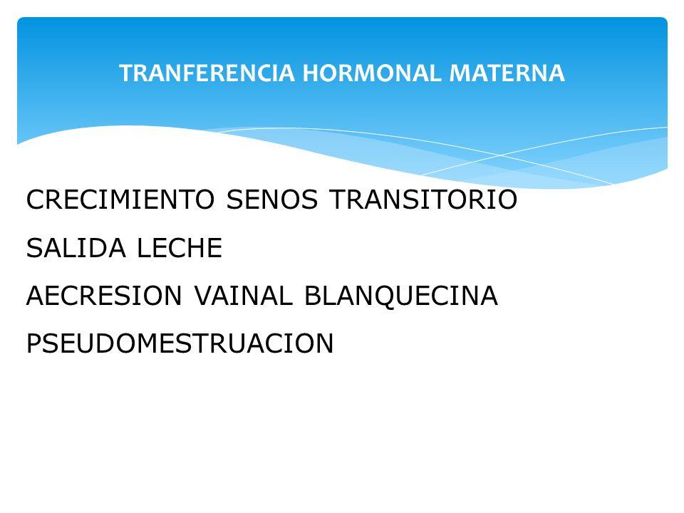 TRANFERENCIA HORMONAL MATERNA CRECIMIENTO SENOS TRANSITORIO SALIDA LECHE AECRESION VAINAL BLANQUECINA PSEUDOMESTRUACION