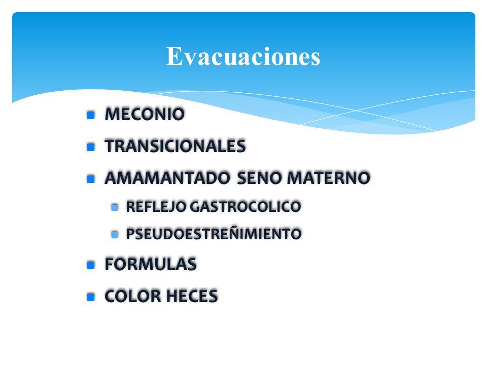 Evacuaciones MECONIO TRANSICIONALES AMAMANTADO SENO MATERNO REFLEJO GASTROCOLICO PSEUDOESTREÑIMIENTO FORMULAS COLOR HECES MECONIO TRANSICIONALES AMAMA