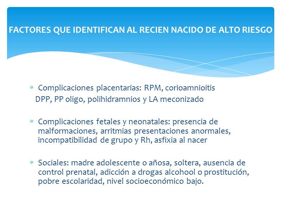 Complicaciones placentarias: RPM, corioamnioitis DPP, PP oligo, polihidramnios y LA meconizado Complicaciones fetales y neonatales: presencia de malfo