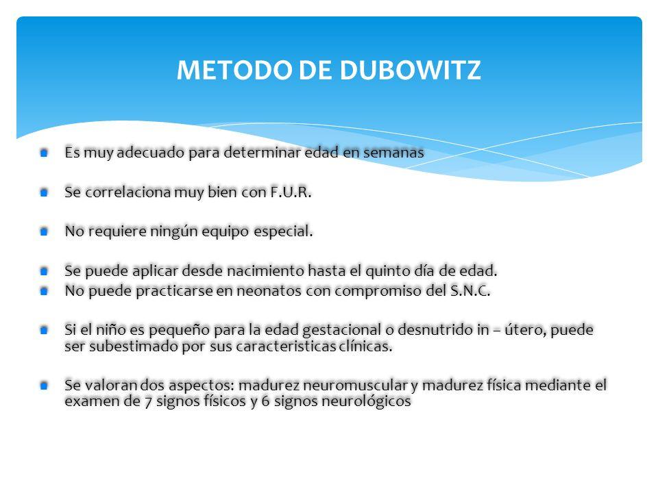 METODO DE DUBOWITZ Es muy adecuado para determinar edad en semanas Se correlaciona muy bien con F.U.R. No requiere ningún equipo especial. Se puede ap