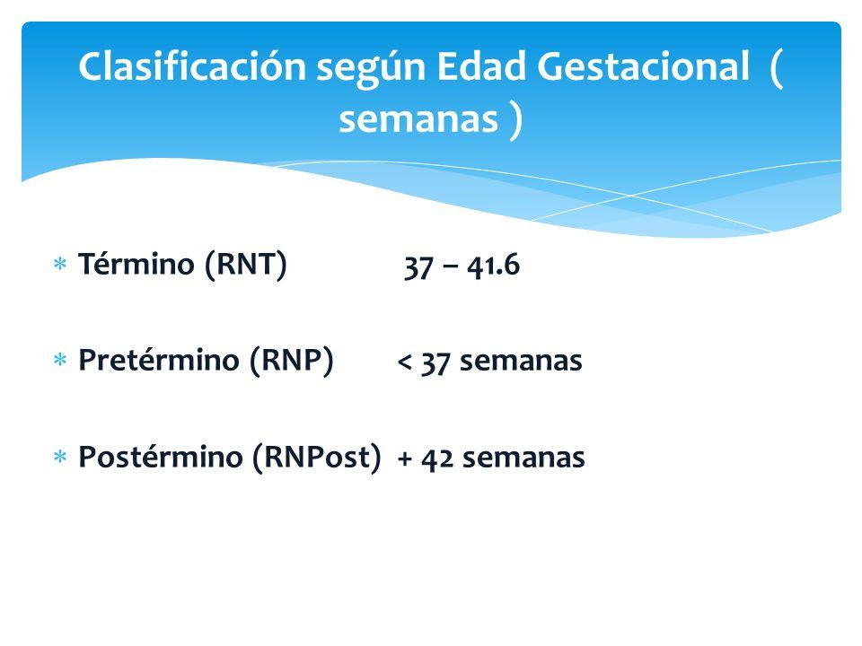 Término (RNT) 37 – 41.6 Pretérmino (RNP)< 37 semanas Postérmino (RNPost) + 42 semanas Clasificación según Edad Gestacional ( semanas )