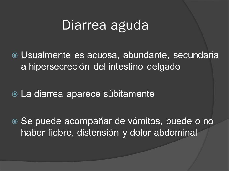 Diarrea aguda Usualmente es acuosa, abundante, secundaria a hipersecreción del intestino delgado La diarrea aparece súbitamente Se puede acompañar de