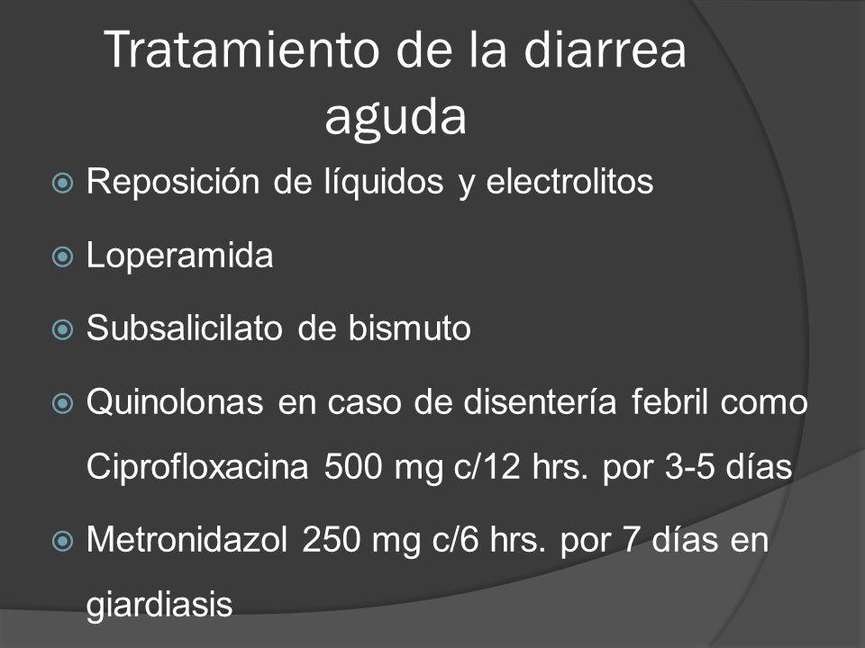 Tratamiento de la diarrea aguda Reposición de líquidos y electrolitos Loperamida Subsalicilato de bismuto Quinolonas en caso de disentería febril como