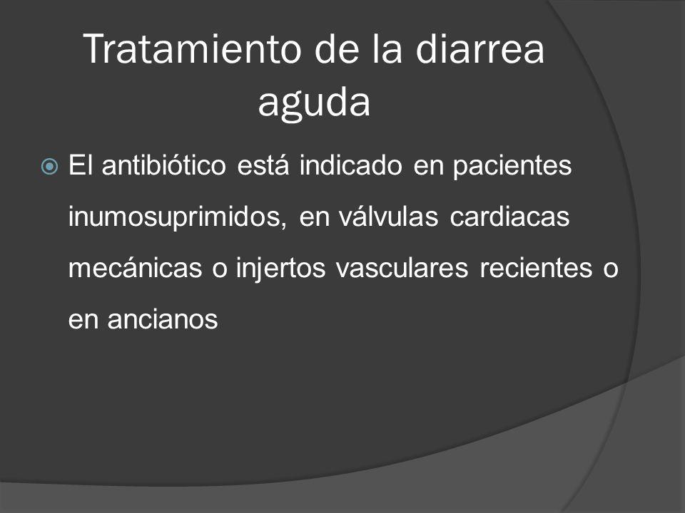 Tratamiento de la diarrea aguda El antibiótico está indicado en pacientes inumosuprimidos, en válvulas cardiacas mecánicas o injertos vasculares recie