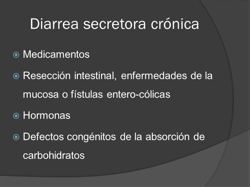 Diarrea secretora crónica Medicamentos Resección intestinal, enfermedades de la mucosa o fístulas entero-cólicas Hormonas Defectos congénitos de la ab