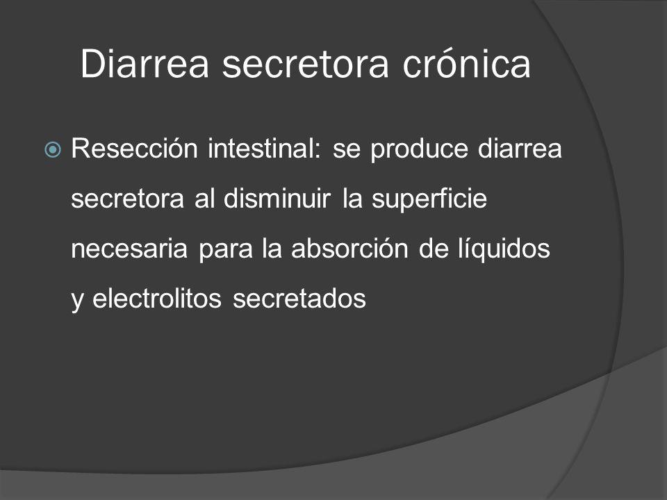 Diarrea secretora crónica Resección intestinal: se produce diarrea secretora al disminuir la superficie necesaria para la absorción de líquidos y elec