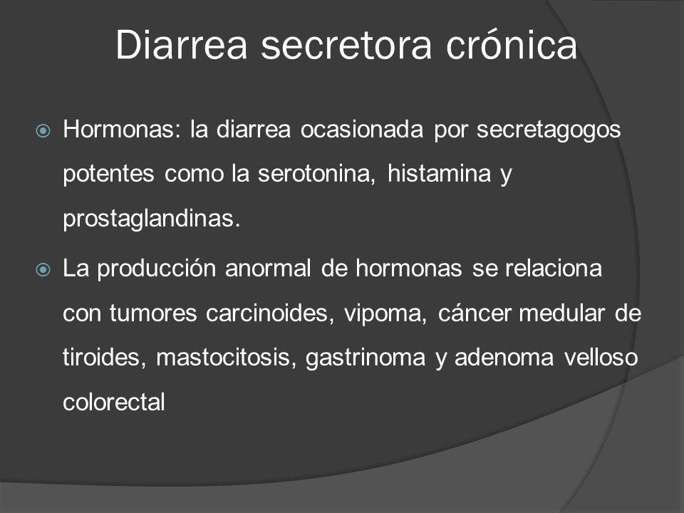 Diarrea secretora crónica Hormonas: la diarrea ocasionada por secretagogos potentes como la serotonina, histamina y prostaglandinas. La producción ano