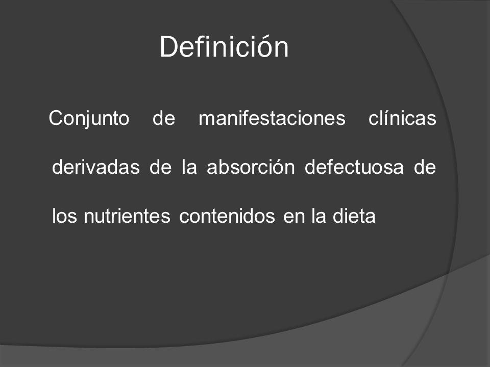 Definición Conjunto de manifestaciones clínicas derivadas de la absorción defectuosa de los nutrientes contenidos en la dieta