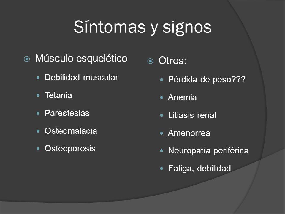 Síntomas y signos Músculo esquelético Debilidad muscular Tetania Parestesias Osteomalacia Osteoporosis Otros: Pérdida de peso??? Anemia Litiasis renal