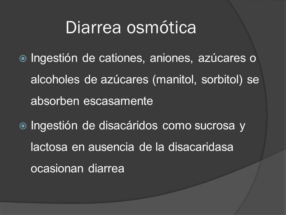 Diarrea osmótica Ingestión de cationes, aniones, azúcares o alcoholes de azúcares (manitol, sorbitol) se absorben escasamente Ingestión de disacáridos
