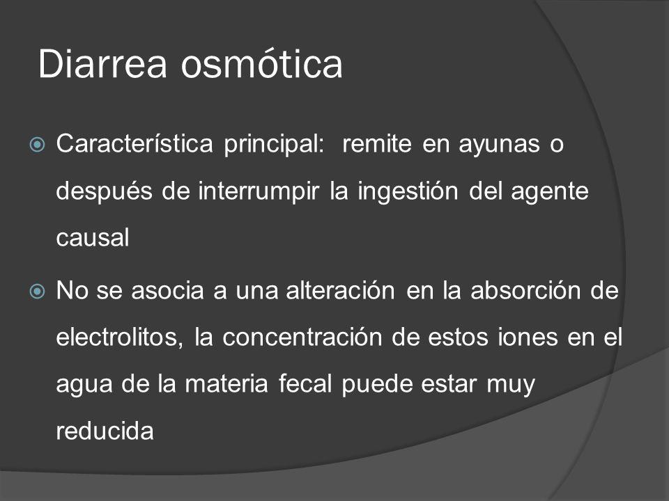 Diarrea osmótica Característica principal: remite en ayunas o después de interrumpir la ingestión del agente causal No se asocia a una alteración en l