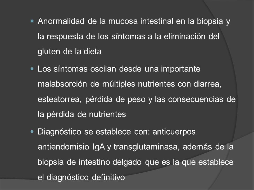 Anormalidad de la mucosa intestinal en la biopsia y la respuesta de los síntomas a la eliminación del gluten de la dieta Los síntomas oscilan desde un