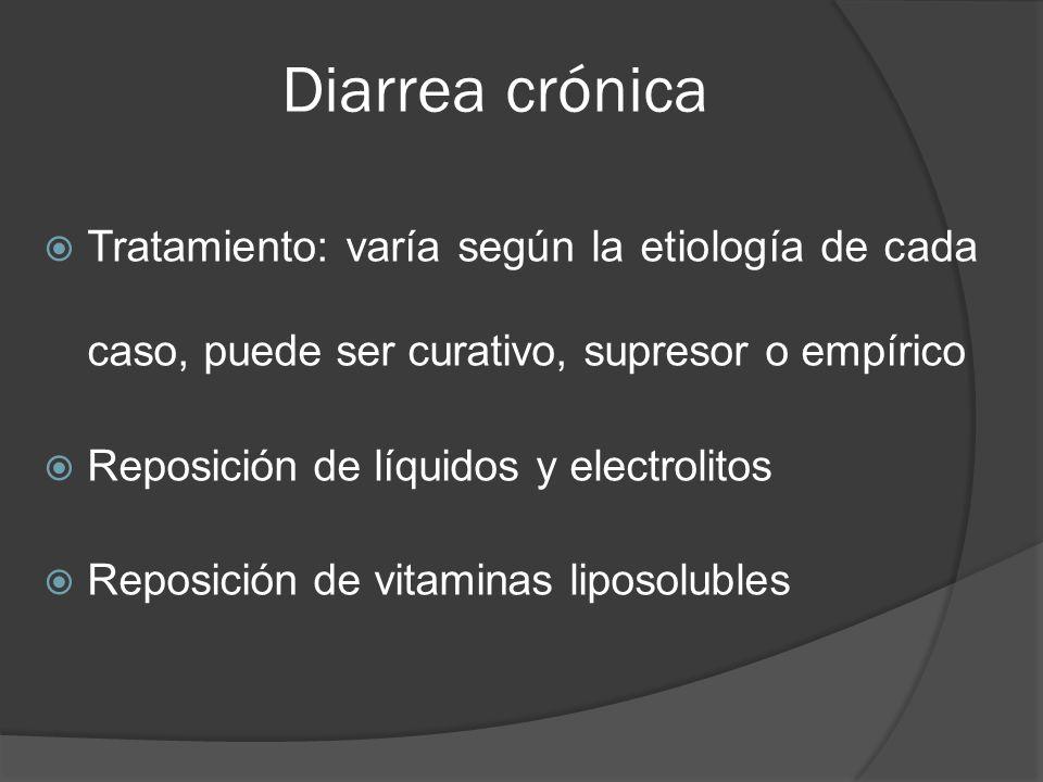 Diarrea crónica Tratamiento: varía según la etiología de cada caso, puede ser curativo, supresor o empírico Reposición de líquidos y electrolitos Repo