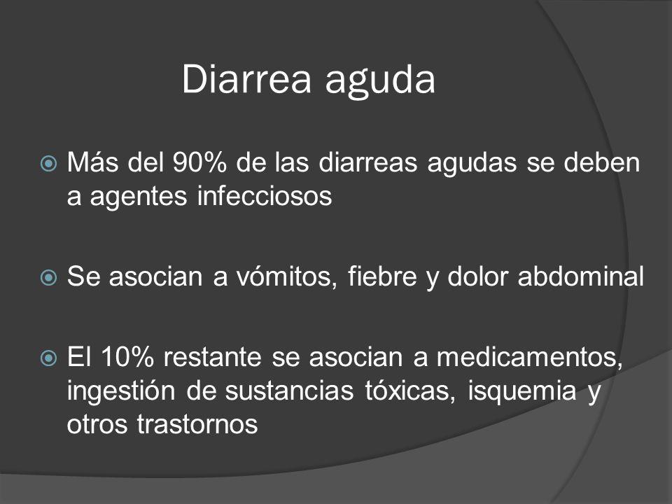 Diarrea aguda Más del 90% de las diarreas agudas se deben a agentes infecciosos Se asocian a vómitos, fiebre y dolor abdominal El 10% restante se asoc