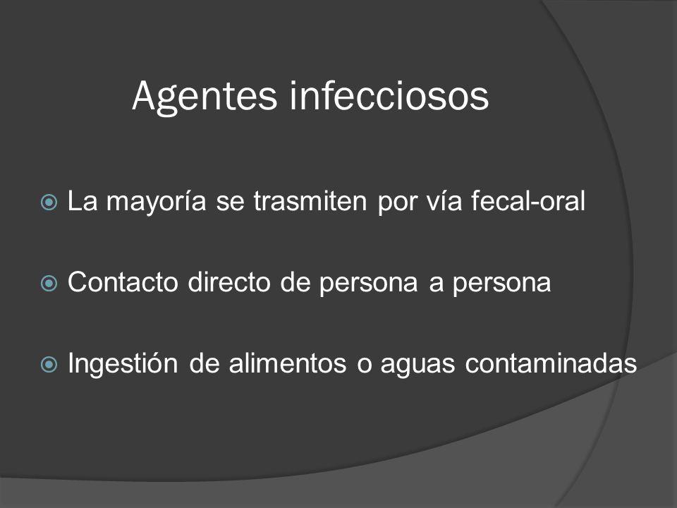 Agentes infecciosos La mayoría se trasmiten por vía fecal-oral Contacto directo de persona a persona Ingestión de alimentos o aguas contaminadas