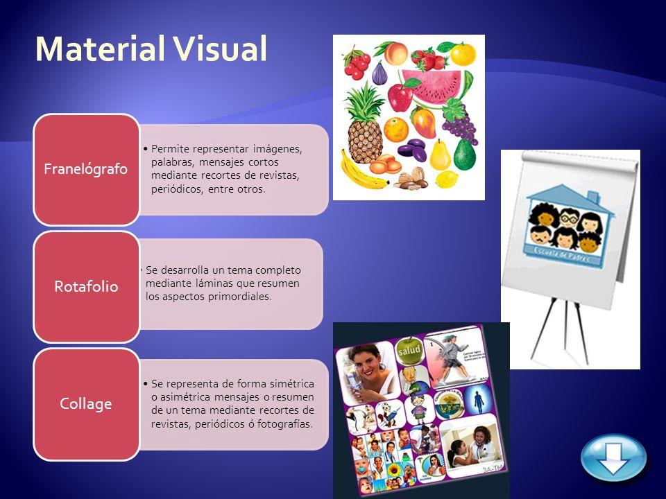 Permite representar imágenes, palabras, mensajes cortos mediante recortes de revistas, periódicos, entre otros. Franelógrafo Se desarrolla un tema com