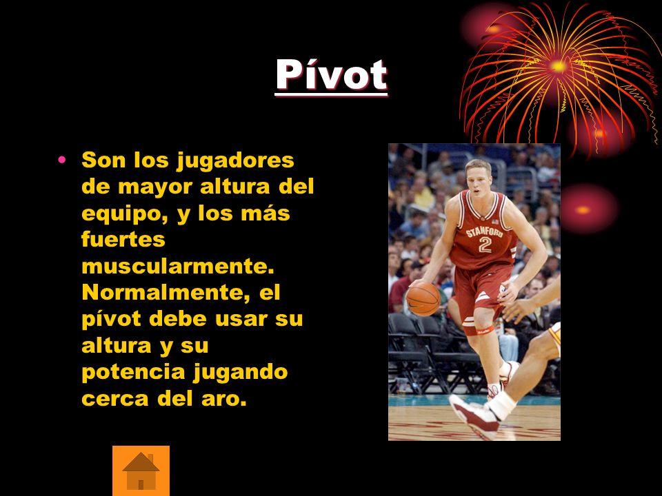 Pívot Son los jugadores de mayor altura del equipo, y los más fuertes muscularmente. Normalmente, el pívot debe usar su altura y su potencia jugando c