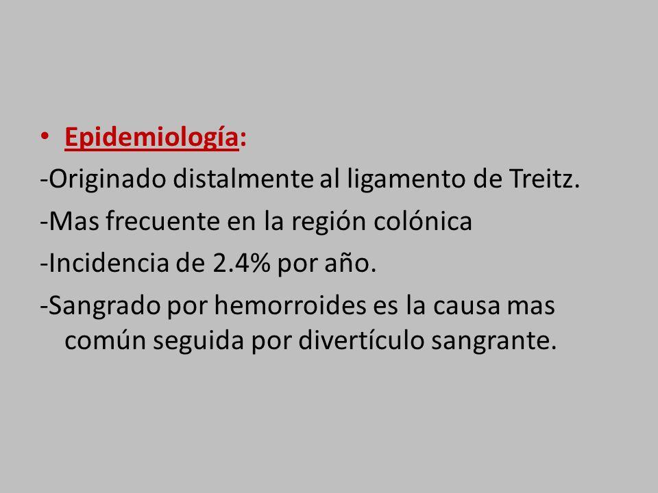 Epidemiología: -Originado distalmente al ligamento de Treitz.