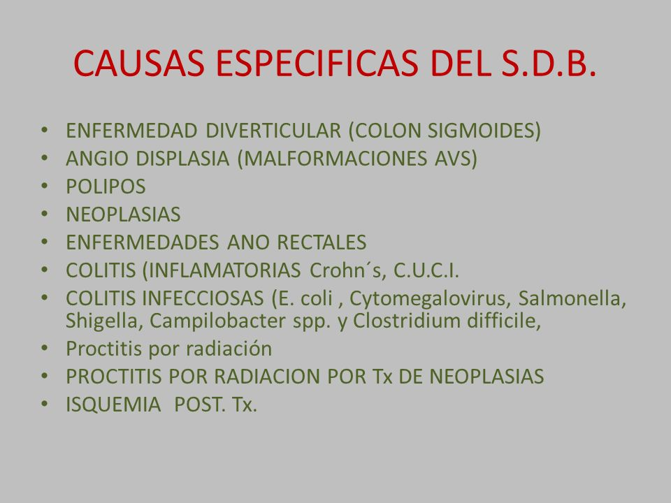 CAUSAS ESPECIFICAS DEL S.D.B.