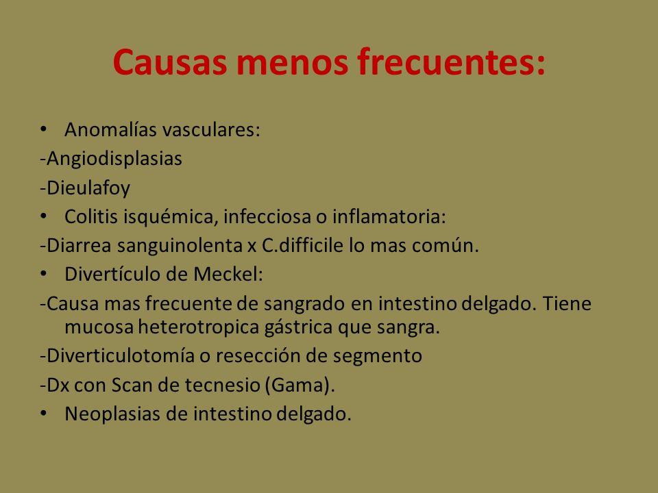 Causas menos frecuentes: Anomalías vasculares: -Angiodisplasias -Dieulafoy Colitis isquémica, infecciosa o inflamatoria: -Diarrea sanguinolenta x C.difficile lo mas común.