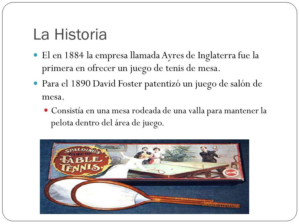 La Historia El en 1884 la empresa llamada Ayres de Inglaterra fue la primera en ofrecer un juego de tenis de mesa. Para el 1890 David Foster patentizó