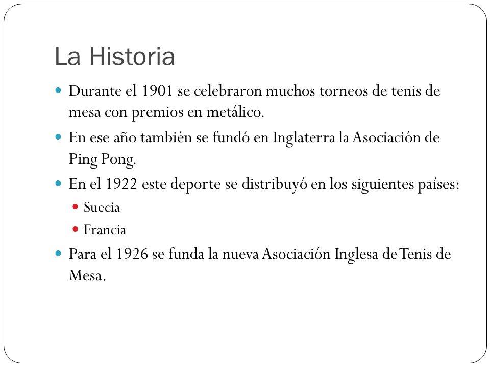 La Historia Durante el 1901 se celebraron muchos torneos de tenis de mesa con premios en metálico. En ese año también se fundó en Inglaterra la Asocia