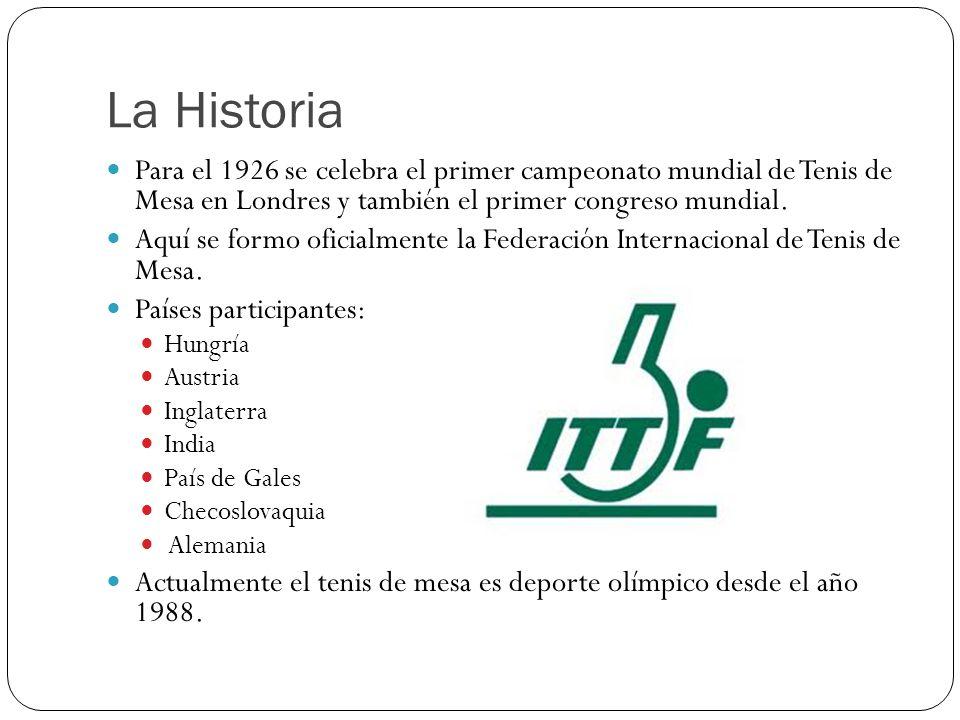 La Historia Para el 1926 se celebra el primer campeonato mundial de Tenis de Mesa en Londres y también el primer congreso mundial. Aquí se formo ofici
