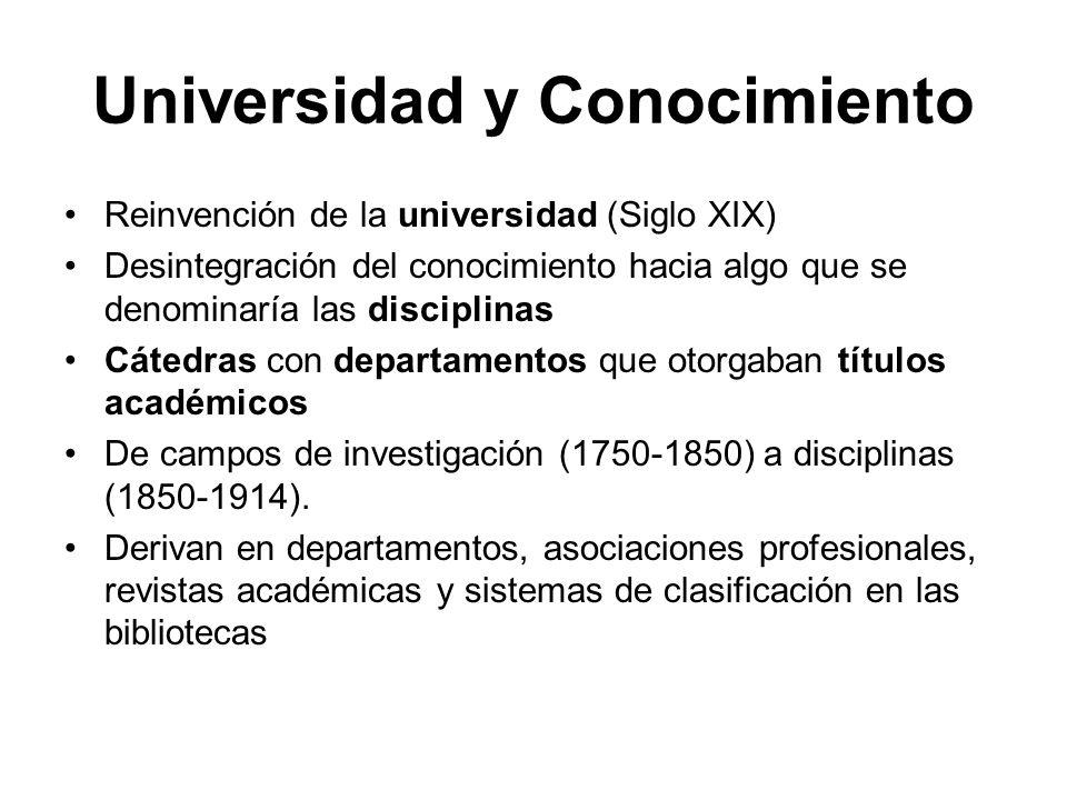 Universidad y Conocimiento Reinvención de la universidad (Siglo XIX) Desintegración del conocimiento hacia algo que se denominaría las disciplinas Cát