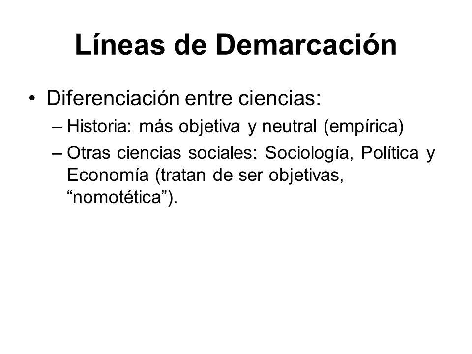 Líneas de Demarcación Diferenciación entre ciencias: –Historia: más objetiva y neutral (empírica) –Otras ciencias sociales: Sociología, Política y Eco