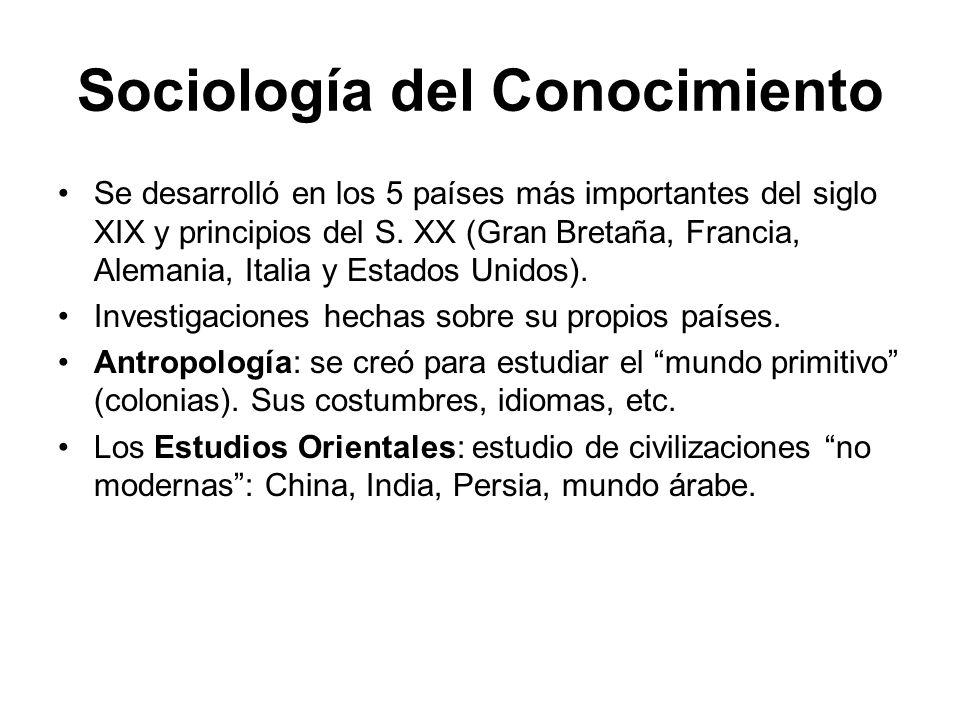 Sociología del Conocimiento Se desarrolló en los 5 países más importantes del siglo XIX y principios del S. XX (Gran Bretaña, Francia, Alemania, Itali