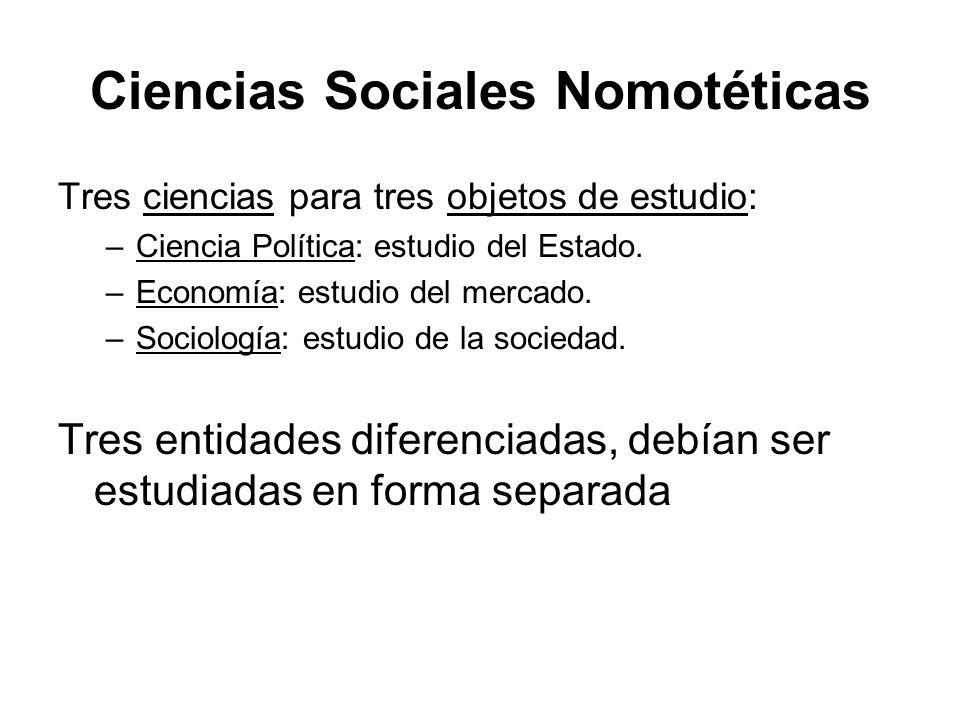 Ciencias Sociales Nomotéticas Tres ciencias para tres objetos de estudio: –Ciencia Política: estudio del Estado. –Economía: estudio del mercado. –Soci