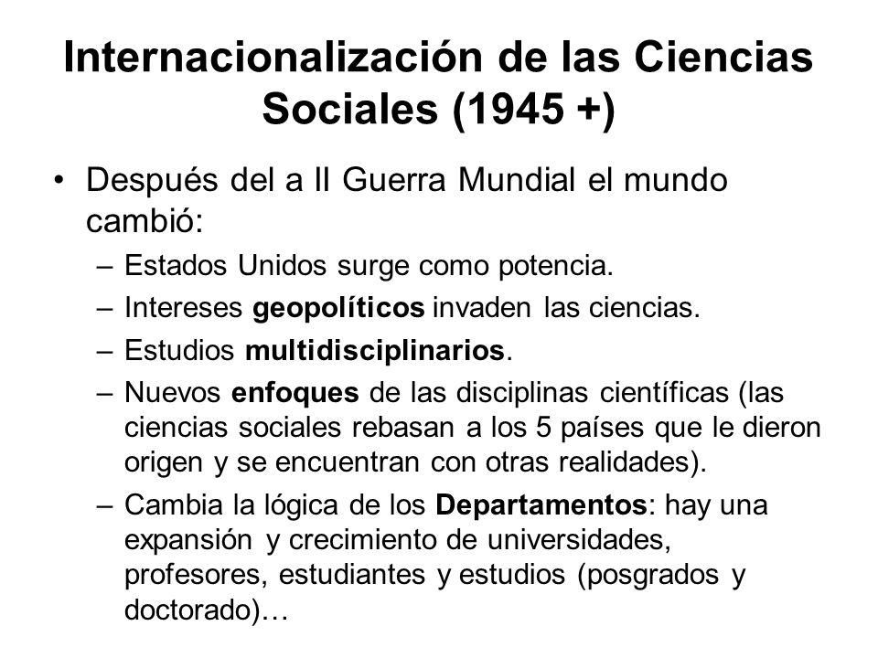 Internacionalización de las Ciencias Sociales (1945 +) Después del a II Guerra Mundial el mundo cambió: –Estados Unidos surge como potencia. –Interese
