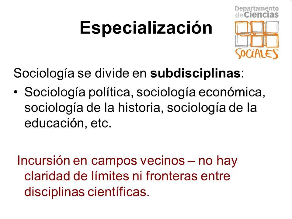 Especialización Sociología se divide en subdisciplinas: Sociología política, sociología económica, sociología de la historia, sociología de la educaci