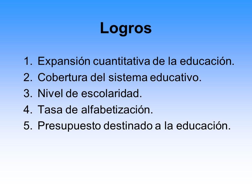Problemas Críticos En cuanto a la calidad de la educación: –Baja calidad en los aprendizajes de los estudiantes.
