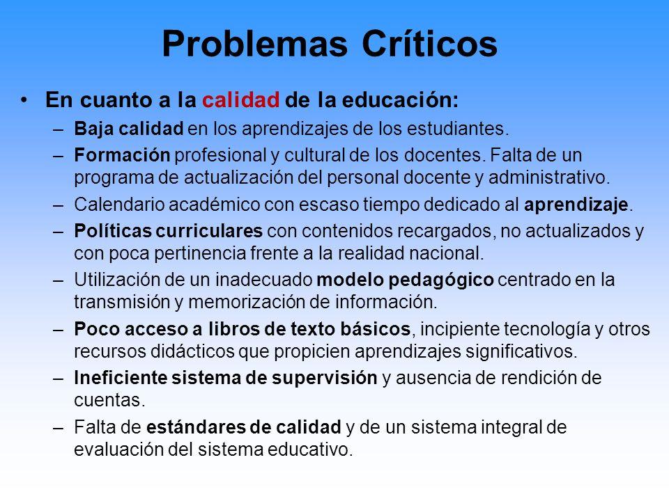 Problemas Críticos En cuanto a la equidad e igualdad de oportunidades educativas: –Insuficiente atención a las escuelas y a los estudiantes que viven en distritos de pobreza crítica.